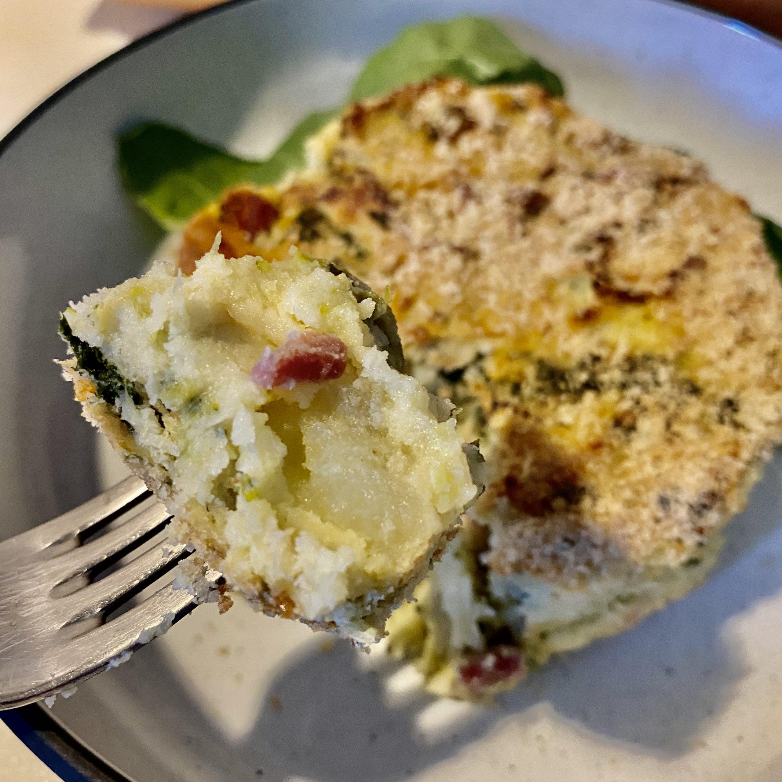 Gateau di patate, broccoli e spinacini.