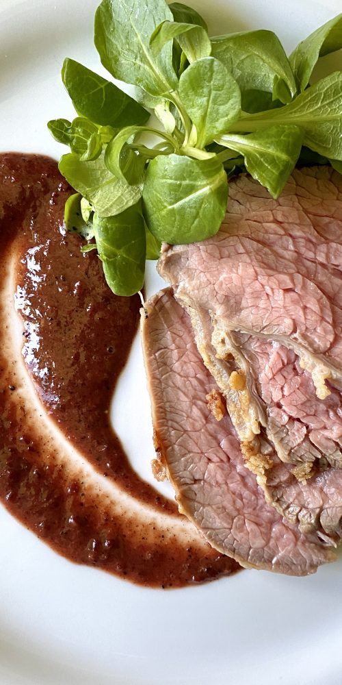 roast beef all inglese con ciliegie